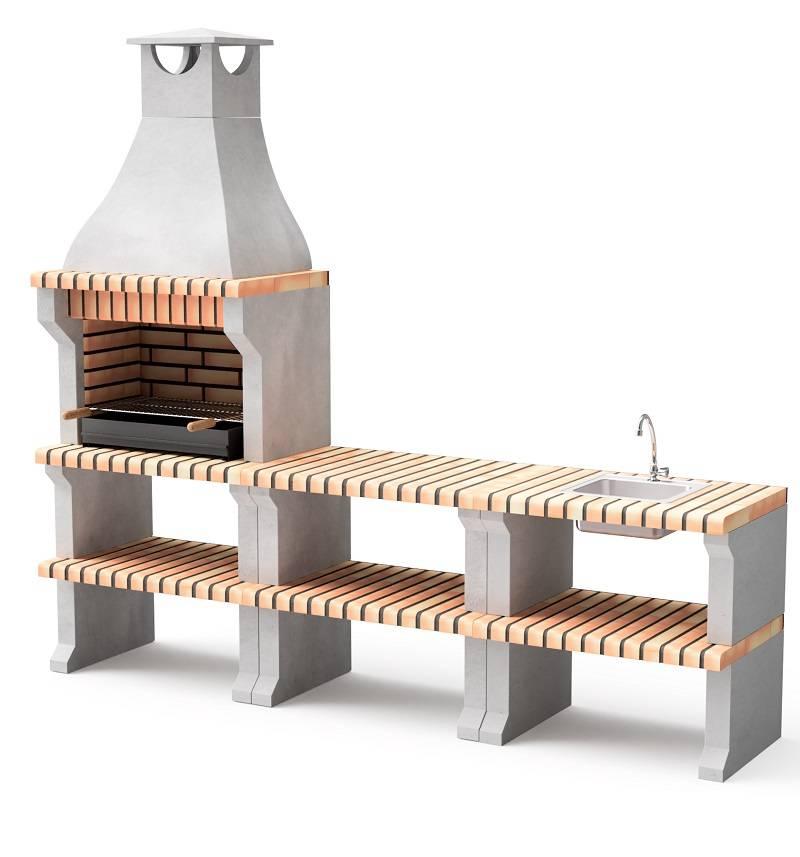 Barbecue en béton brique avec comptoirs et cheminée évier