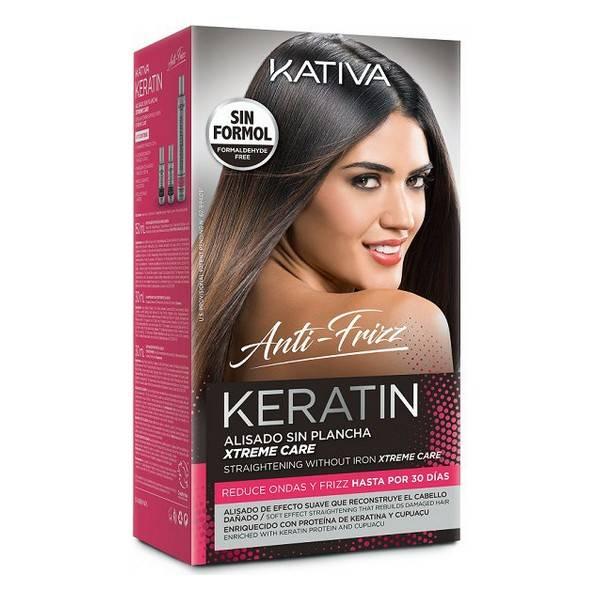 Traitement Capillaire Lissant Keratin Anti-frizz Xtrem Care Kativa (3 pcs) Cheveux abîmés